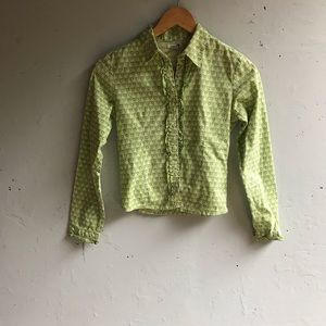 ZARA green button up with ruffles and flowers